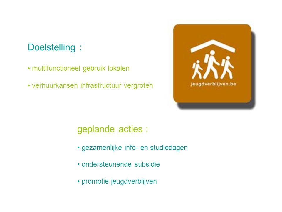 Doelstelling : multifunctioneel gebruik lokalen verhuurkansen infrastructuur vergroten geplande acties : gezamenlijke info- en studiedagen ondersteunende subsidie promotie jeugdverblijven