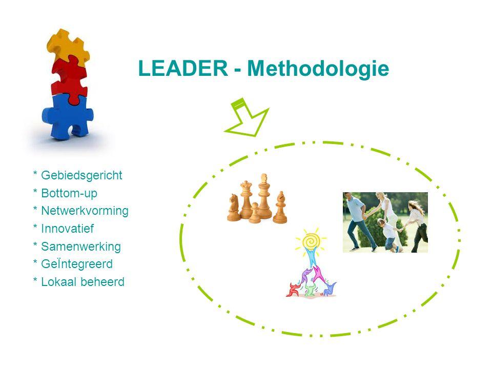 LEADER - Methodologie * Gebiedsgericht * Bottom-up * Netwerkvorming * Innovatief * Samenwerking * GeÏntegreerd * Lokaal beheerd