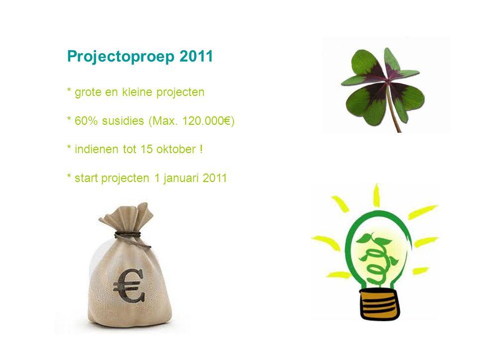 Projectoproep 2011 * grote en kleine projecten * 60% susidies (Max.