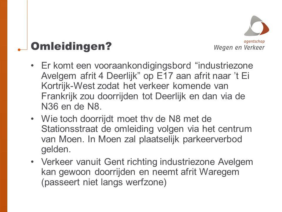 """Omleidingen? Er komt een vooraankondigingsbord """"industriezone Avelgem afrit 4 Deerlijk"""" op E17 aan afrit naar 't Ei Kortrijk-West zodat het verkeer ko"""