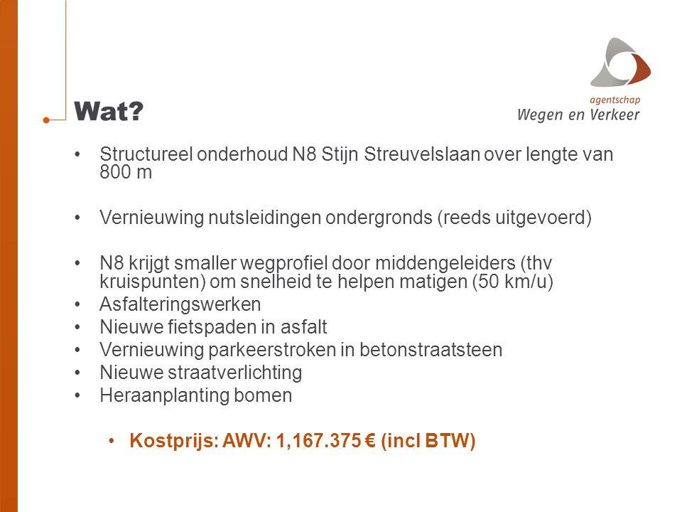 Wat? Structureel onderhoud N8 Stijn Streuvelslaan over lengte van 800 m Vernieuwing nutsleidingen ondergronds (reeds uitgevoerd) N8 krijgt smaller weg