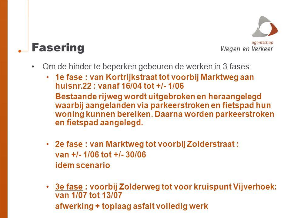 Fasering Om de hinder te beperken gebeuren de werken in 3 fases: 1e fase : van Kortrijkstraat tot voorbij Marktweg aan huisnr.22 : vanaf 16/04 tot +/-
