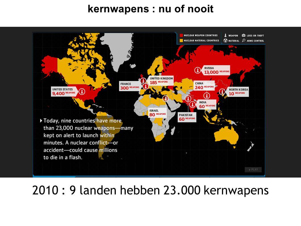 kernwapens : nu of nooit Nu of nooit voor kernwapens  zo lang er kernwapens zijn bestaat het gevaar dat ze gebruikt worden  als kernmachten blijven vasthouden aan kernwapens, gaan andere landen ze ook willen  verspreiding van kernwapens tegengaan EN zelf ontwapenen gaan noodzakelijk samen  2010 cruciaal: OF verdere verspreiding van kernwapens en stijgend risico op gebruik ervan - OF ernstige stappen naar ontwapening.