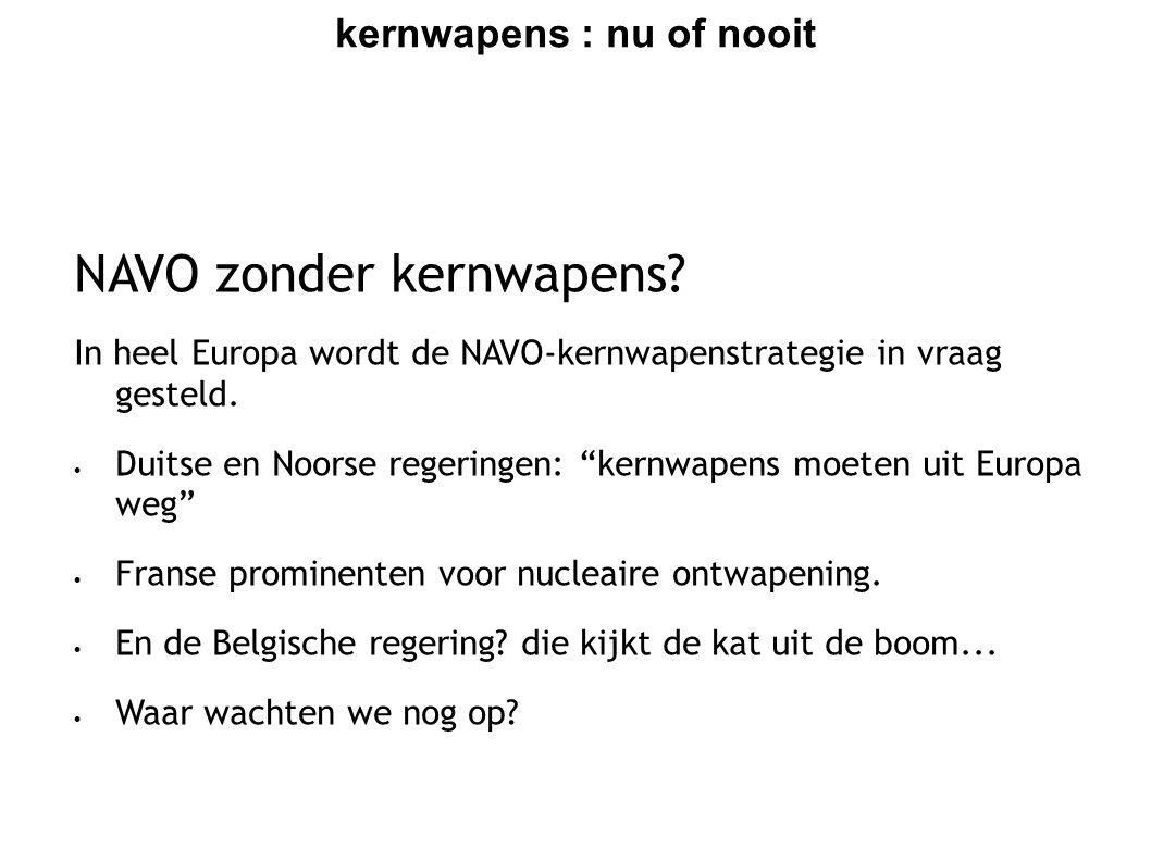 kernwapens : nu of nooit 2010 : ontwapening in actie  Willen we de kernwapens uit Kleine Brogel weg, dan moet de Belgische overheid nu initiatieven nemen.