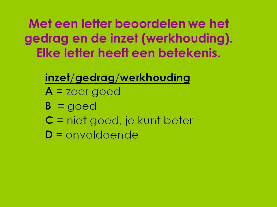 Met een letter beoordelen we het gedrag en de inzet (werkhouding). Elke letter heeft een betekenis.
