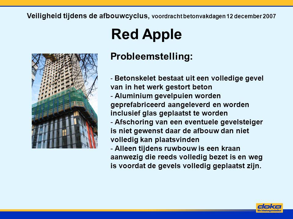Red Apple Oplossing: - Hydraulisch klimmende gevelsteigers voor het realiseren van een veilige werkomgeving voor het aanbrengen van de gevelpuien.
