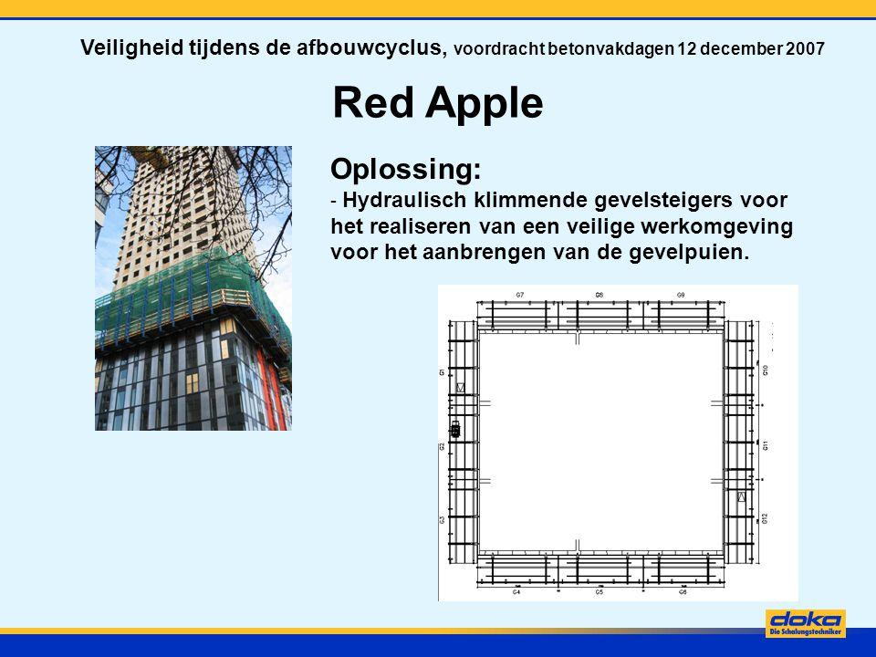 Red Apple Oplossing: - Hydraulisch klimmende gevelsteigers voor het realiseren van een veilige werkomgeving voor het aanbrengen van de gevelpuien. Vei