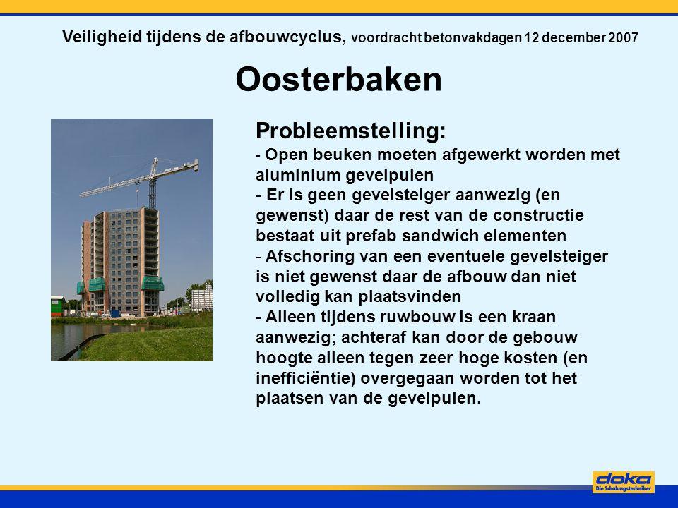 Oosterbaken Probleemstelling: - Open beuken moeten afgewerkt worden met aluminium gevelpuien - Er is geen gevelsteiger aanwezig (en gewenst) daar de r