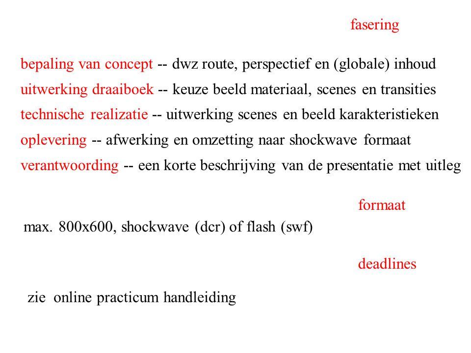bepaling van concept -- dwz route, perspectief en (globale) inhoud uitwerking draaiboek -- keuze beeld materiaal, scenes en transities technische real