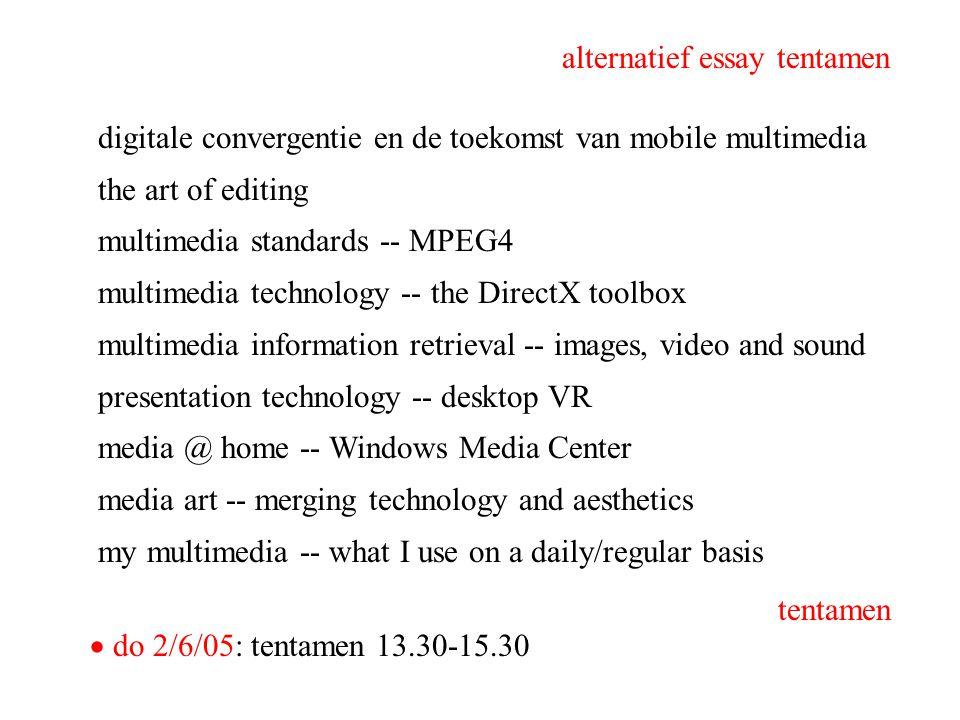digitale convergentie en de toekomst van mobile multimedia the art of editing multimedia standards -- MPEG4 multimedia technology -- the DirectX toolb