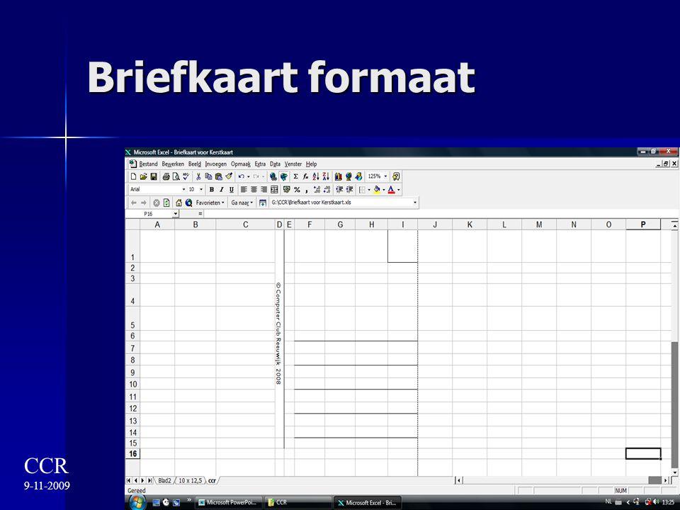 Briefkaart formaat CCR 9-11-2009