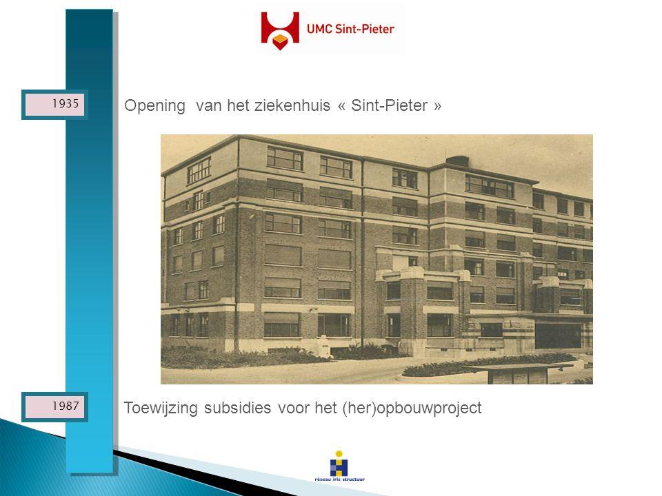 Toewijzing subsidies voor het (her)opbouwproject Opening van het ziekenhuis « Sint-Pieter » 1987 1935
