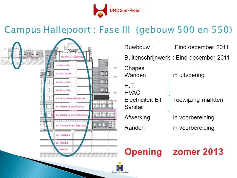 Ruwbouw : Eind december 2011 Buitenschrijnwerk : Eind december 2011 Chapes Wandenin uitvoering H.T. HVAC Electriciteit BTToewijzing markten Sanitair A