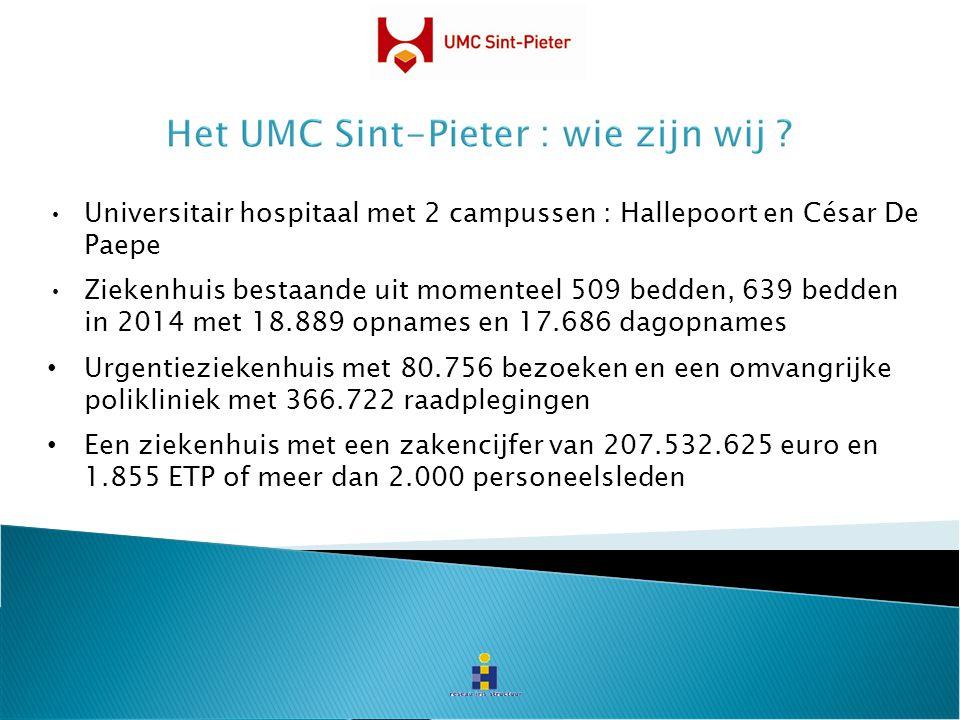 Universitair hospitaal met 2 campussen : Hallepoort en César De Paepe Ziekenhuis bestaande uit momenteel 509 bedden, 639 bedden in 2014 met 18.889 opn
