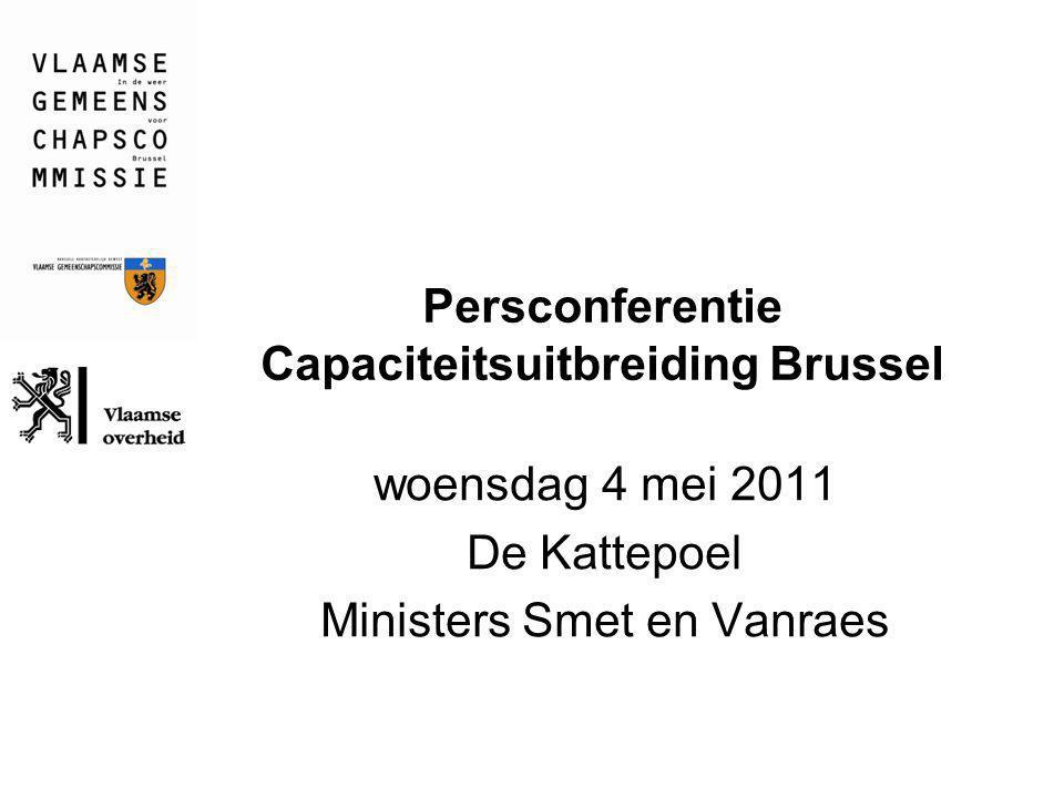 Persconferentie Capaciteitsuitbreiding Brussel woensdag 4 mei 2011 De Kattepoel Ministers Smet en Vanraes