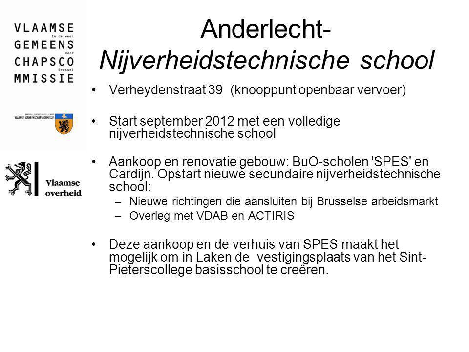 Anderlecht- Nijverheidstechnische school Verheydenstraat 39 (knooppunt openbaar vervoer) Start september 2012 met een volledige nijverheidstechnische