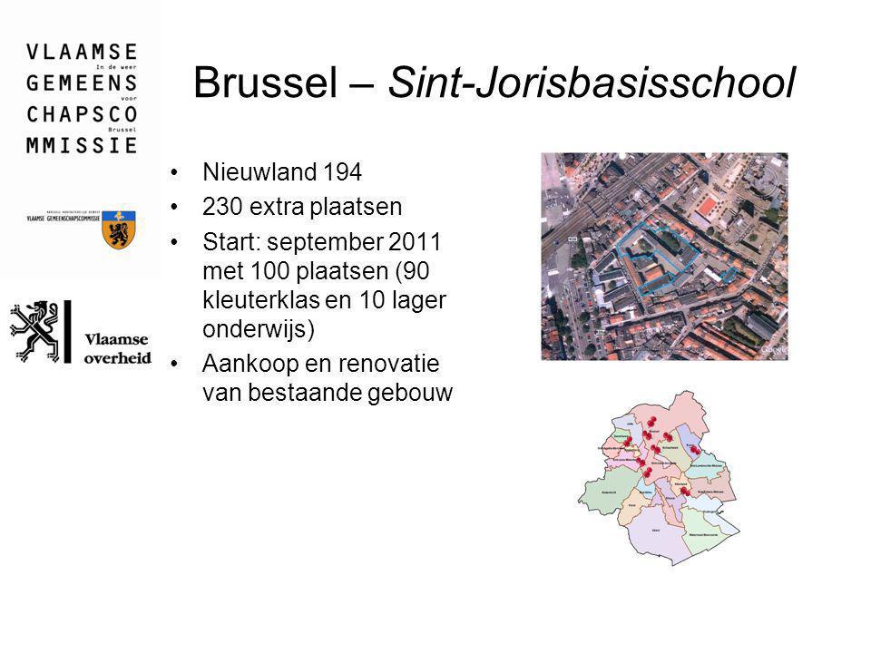 Brussel – Sint-Jorisbasisschool Nieuwland 194 230 extra plaatsen Start: september 2011 met 100 plaatsen (90 kleuterklas en 10 lager onderwijs) Aankoop