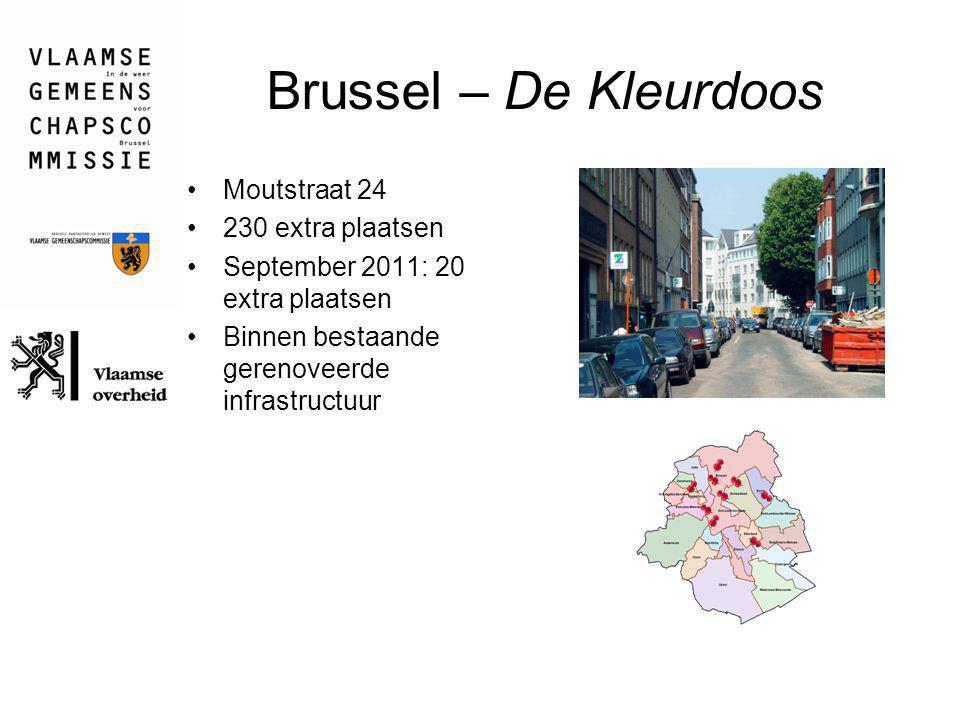 Brussel – De Kleurdoos Moutstraat 24 230 extra plaatsen September 2011: 20 extra plaatsen Binnen bestaande gerenoveerde infrastructuur