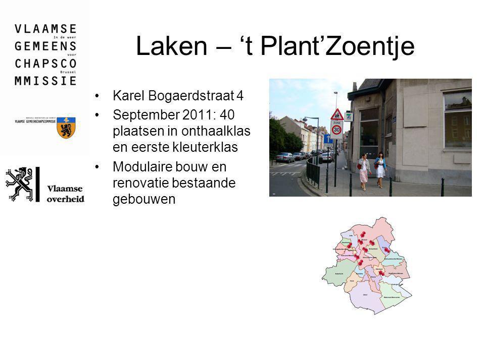 Laken – 't Plant'Zoentje Karel Bogaerdstraat 4 September 2011: 40 plaatsen in onthaalklas en eerste kleuterklas Modulaire bouw en renovatie bestaande