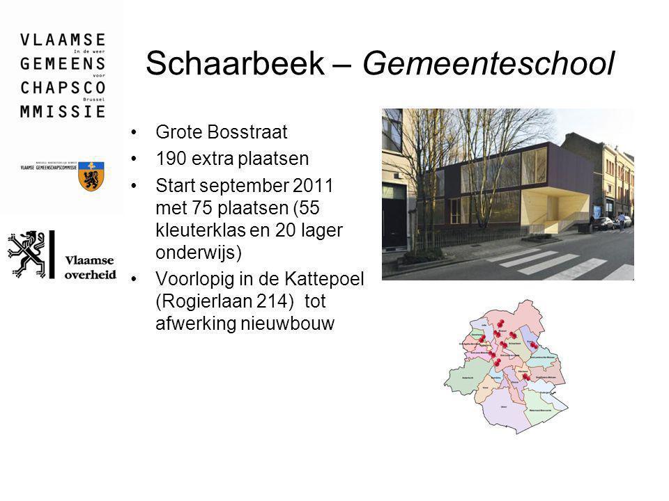 Schaarbeek – Gemeenteschool Grote Bosstraat 190 extra plaatsen Start september 2011 met 75 plaatsen (55 kleuterklas en 20 lager onderwijs) Voorlopig i