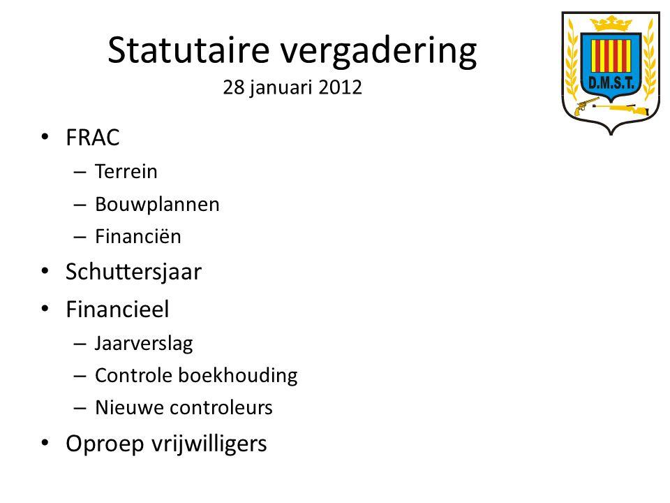 Statutaire vergadering 28 januari 2012 FRAC – Terrein – Bouwplannen – Financiën Schuttersjaar Financieel – Jaarverslag – Controle boekhouding – Nieuwe