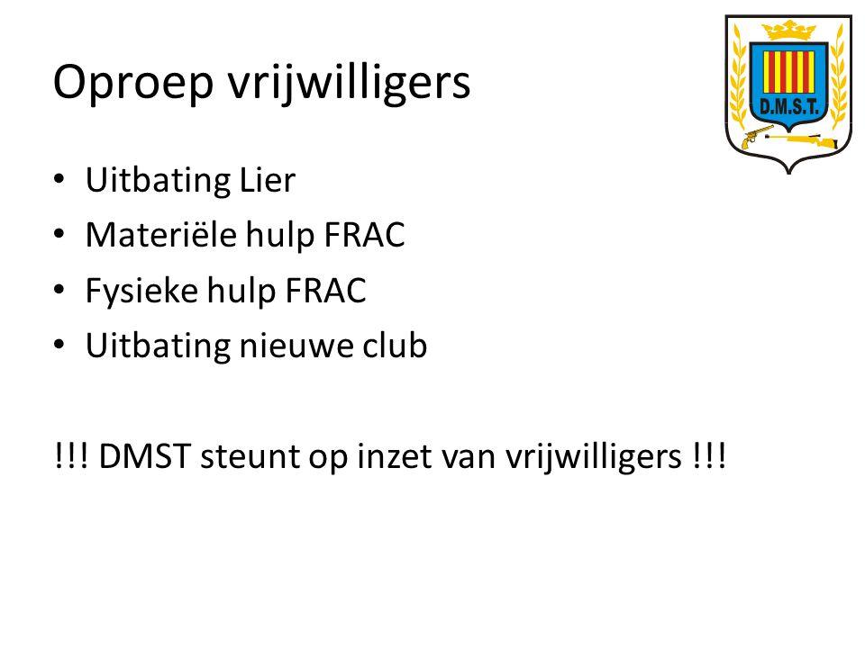 Oproep vrijwilligers Uitbating Lier Materiële hulp FRAC Fysieke hulp FRAC Uitbating nieuwe club !!.