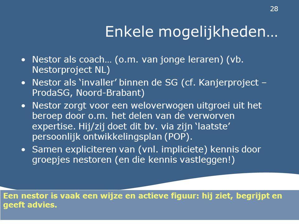 28 Enkele mogelijkheden… Nestor als coach… (o.m. van jonge leraren) (vb. Nestorproject NL) Nestor als 'invaller' binnen de SG (cf. Kanjerproject – Pro