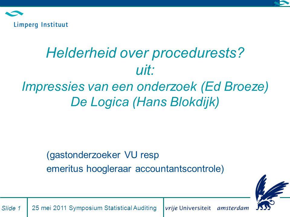 25 mei 2011 Symposium Statistical Auditing Slide 1 Helderheid over procedurests.