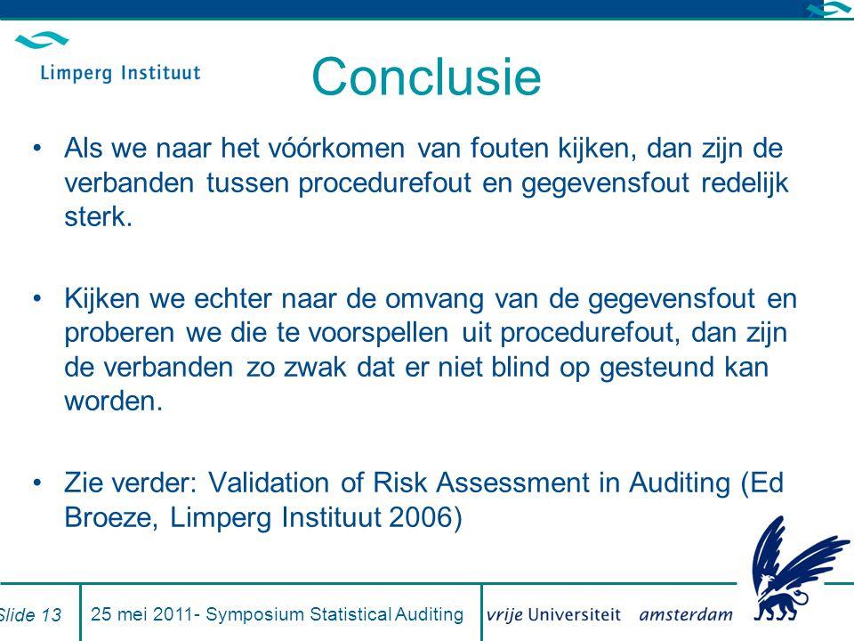 Conclusie Als we naar het vóórkomen van fouten kijken, dan zijn de verbanden tussen procedurefout en gegevensfout redelijk sterk.
