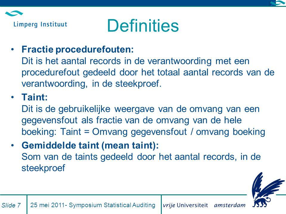 Definities Fractie procedurefouten: Dit is het aantal records in de verantwoording met een procedurefout gedeeld door het totaal aantal records van de verantwoording, in de steekproef.