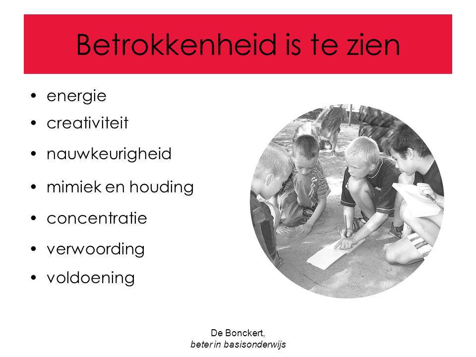 De Bonckert, beter in basisonderwijs Betrokkenheid is te zien energie creativiteit nauwkeurigheid mimiek en houding concentratie verwoording voldoenin