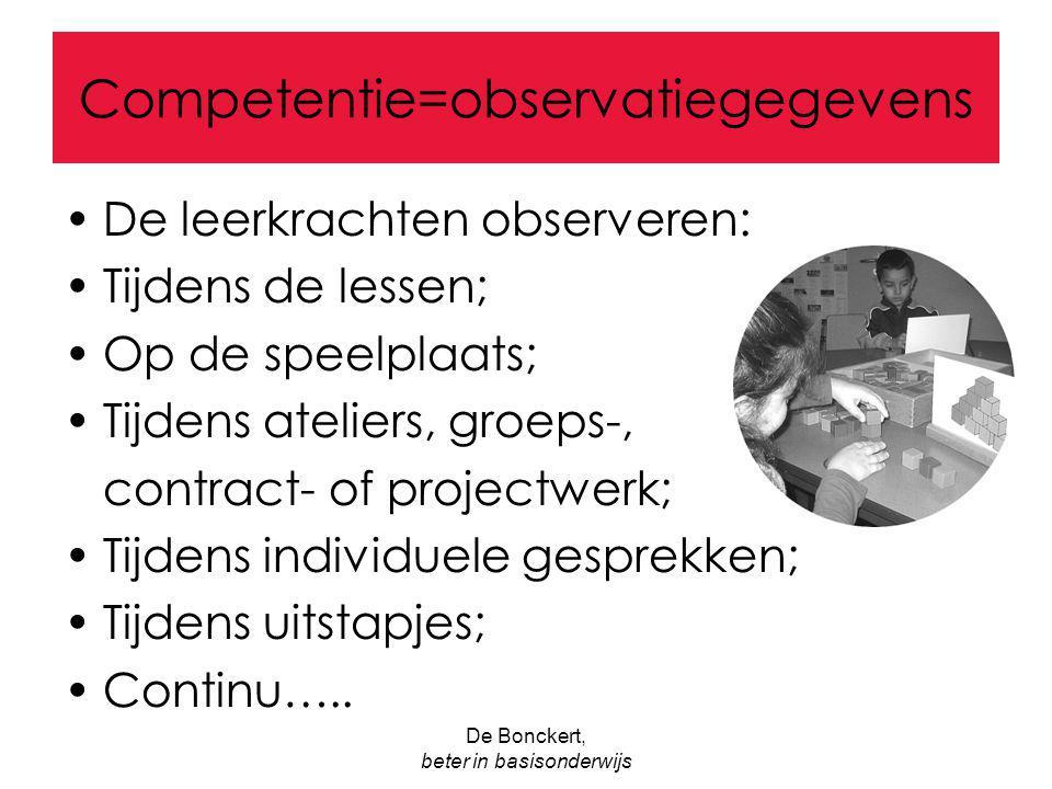 De Bonckert, beter in basisonderwijs Competentie=observatiegegevens De leerkrachten observeren: Tijdens de lessen; Op de speelplaats; Tijdens ateliers