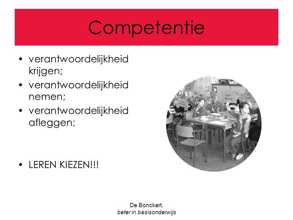 De Bonckert, beter in basisonderwijs Competentie verantwoordelijkheid krijgen; verantwoordelijkheid nemen; verantwoordelijkheid afleggen; LEREN KIEZEN