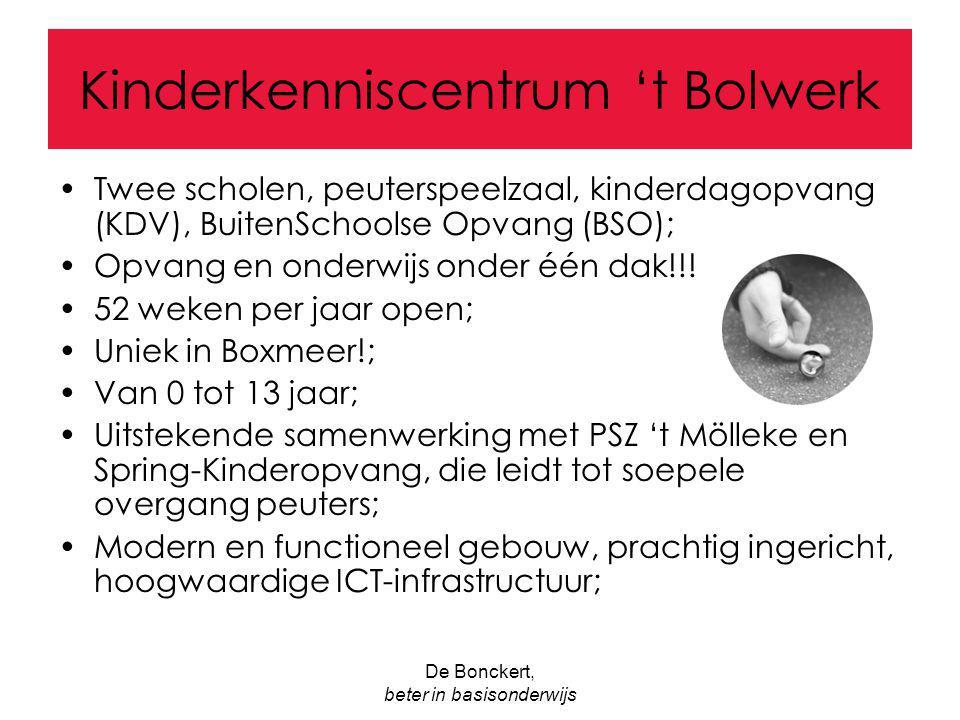 De Bonckert, beter in basisonderwijs Kinderkenniscentrum 't Bolwerk Twee scholen, peuterspeelzaal, kinderdagopvang (KDV), BuitenSchoolse Opvang (BSO);