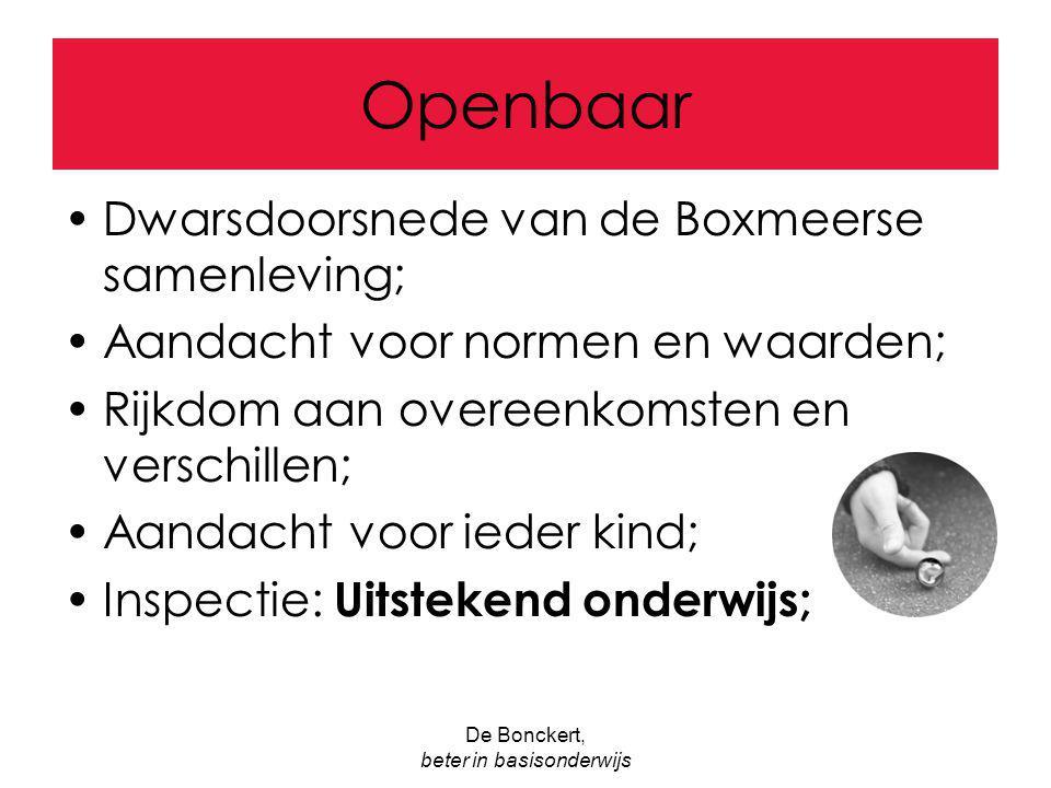 De Bonckert, beter in basisonderwijs Openbaar Dwarsdoorsnede van de Boxmeerse samenleving; Aandacht voor normen en waarden; Rijkdom aan overeenkomsten