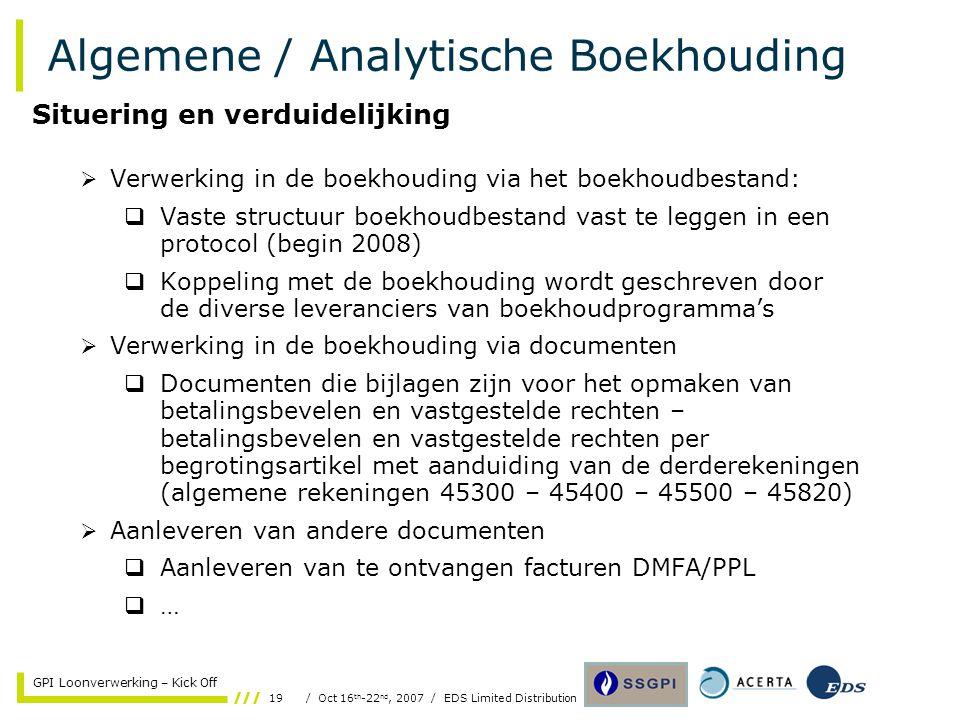 19/ Oct 16 th -22 nd, 2007 / EDS Limited Distribution GPI Loonverwerking – Kick Off Algemene / Analytische Boekhouding  Verwerking in de boekhouding