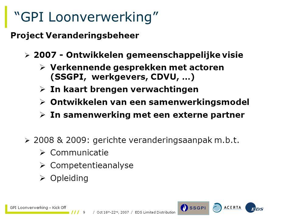 "9/ Oct 16 th -22 nd, 2007 / EDS Limited Distribution GPI Loonverwerking – Kick Off ""GPI Loonverwerking""  2007 - Ontwikkelen gemeenschappelijke visie"