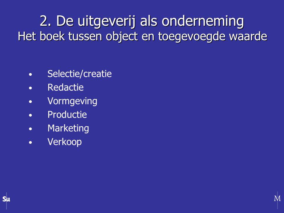 Selectie/creatie Redactie Vormgeving Productie Marketing Verkoop 2.