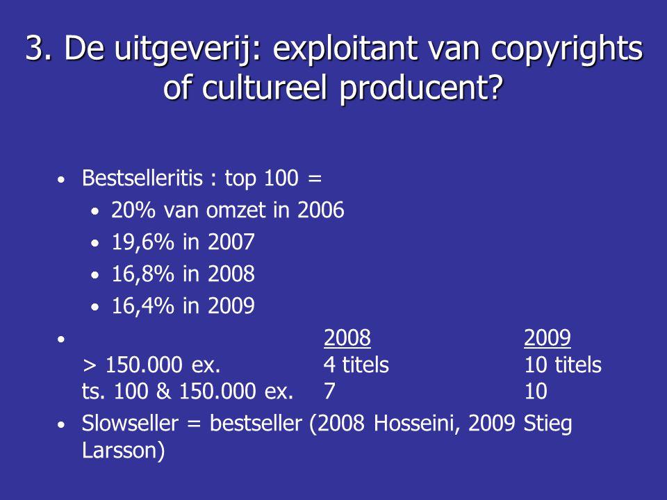 3. De uitgeverij: exploitant van copyrights of cultureel producent.