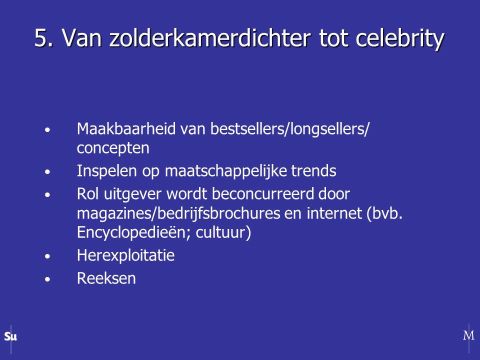 Maakbaarheid van bestsellers/longsellers/ concepten Inspelen op maatschappelijke trends Rol uitgever wordt beconcurreerd door magazines/bedrijfsbrochures en internet (bvb.