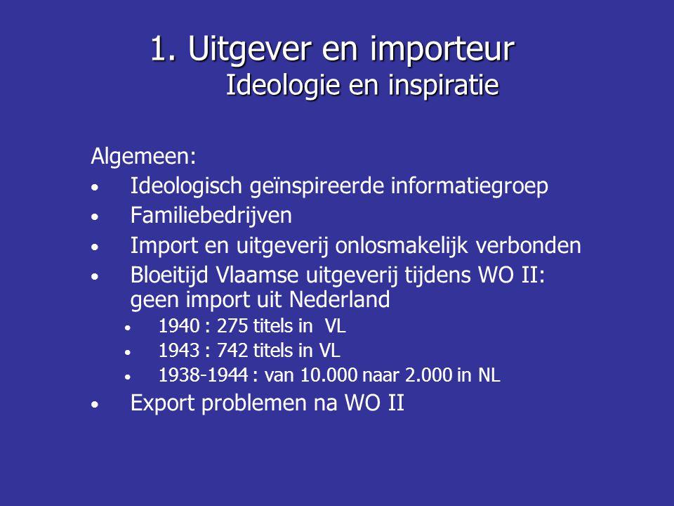 Algemeen: Ideologisch geïnspireerde informatiegroep Familiebedrijven Import en uitgeverij onlosmakelijk verbonden Bloeitijd Vlaamse uitgeverij tijdens WO II: geen import uit Nederland 1940 : 275 titels in VL 1943 : 742 titels in VL 1938-1944 : van 10.000 naar 2.000 in NL Export problemen na WO II 1.