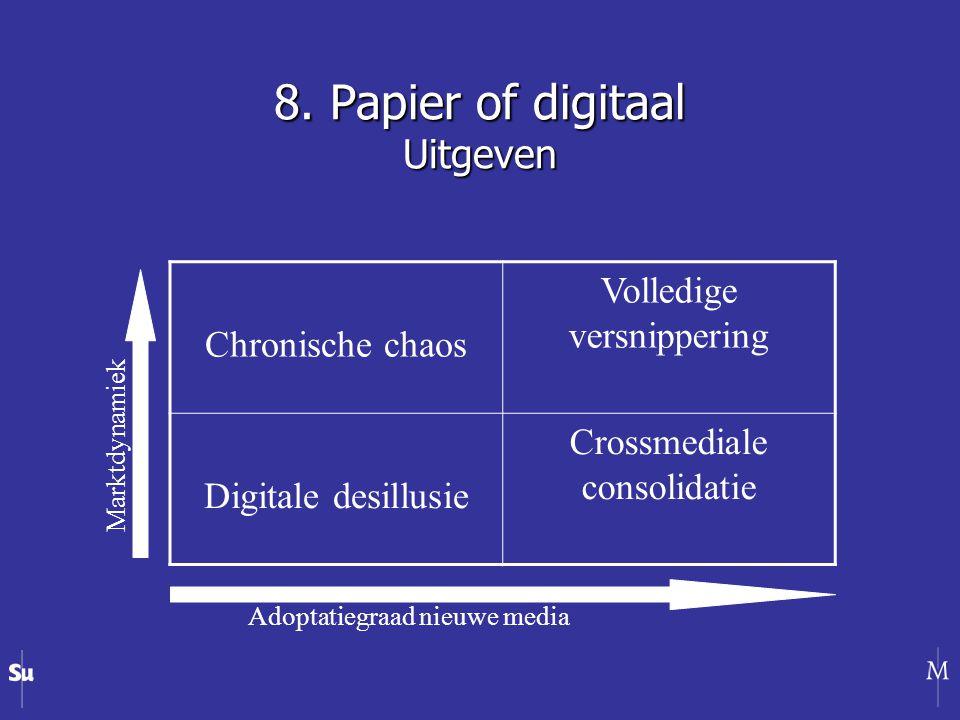 Chronische chaos Volledige versnippering Digitale desillusie Crossmediale consolidatie Adoptatiegraad nieuwe media Marktdynamiek