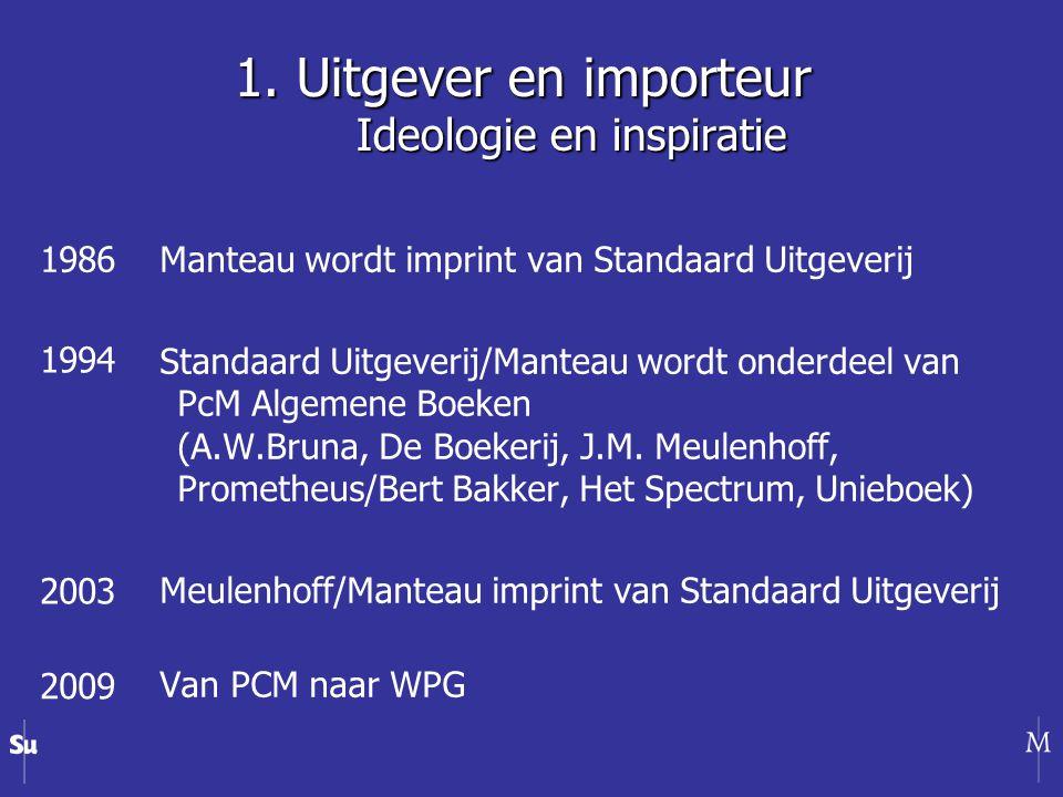 1. Uitgever en importeur Ideologie en inspiratie Manteau wordt imprint van Standaard Uitgeverij Standaard Uitgeverij/Manteau wordt onderdeel van PcM A