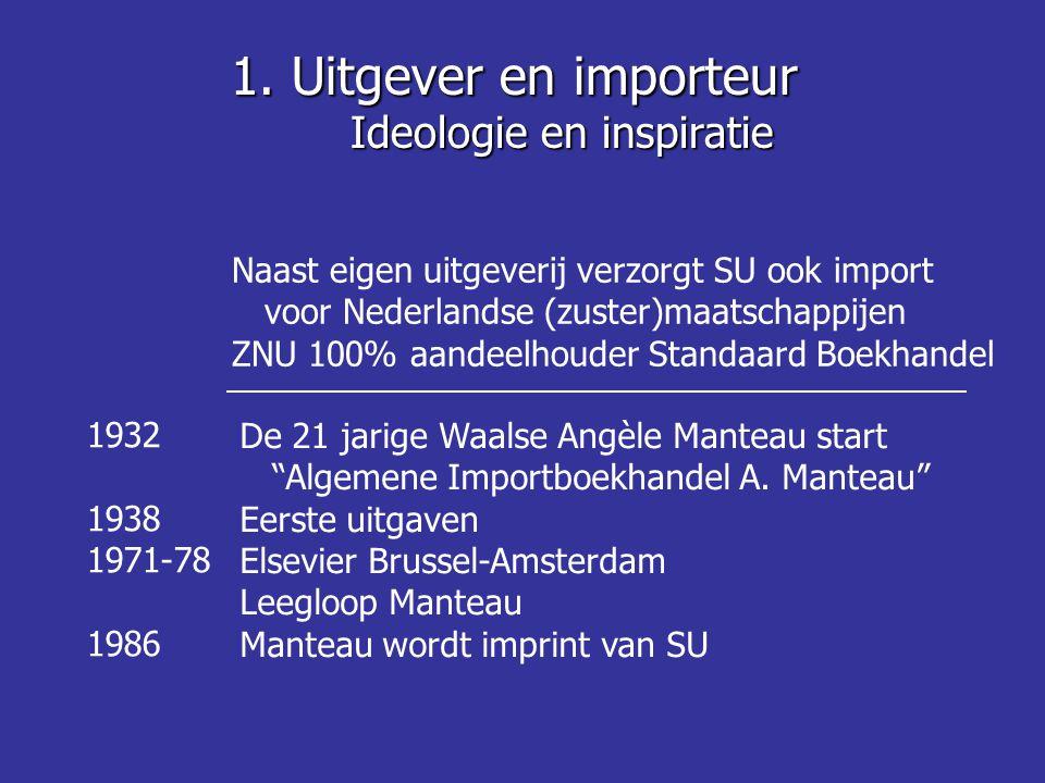Naast eigen uitgeverij verzorgt SU ook import voor Nederlandse (zuster)maatschappijen ZNU 100% aandeelhouder Standaard Boekhandel 1932 1938 1971-78 1986 De 21 jarige Waalse Angèle Manteau start Algemene Importboekhandel A.