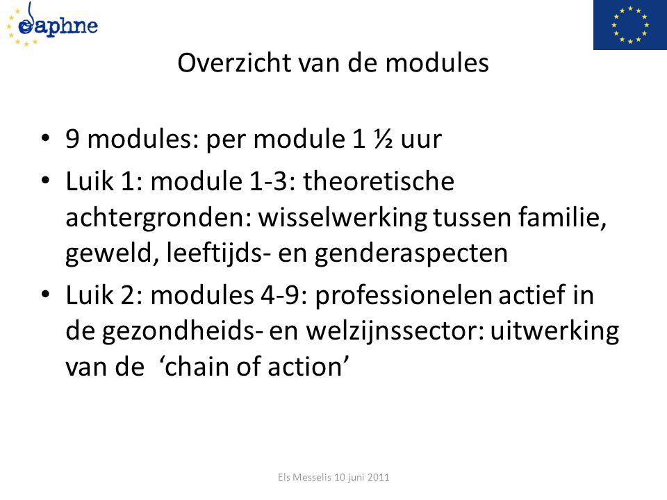 Overzicht van de modules 9 modules: per module 1 ½ uur Luik 1: module 1-3: theoretische achtergronden: wisselwerking tussen familie, geweld, leeftijds- en genderaspecten Luik 2: modules 4-9: professionelen actief in de gezondheids- en welzijnssector: uitwerking van de 'chain of action' Els Messelis 10 juni 2011