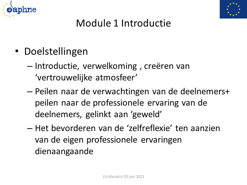 Module 1 Introductie Doelstellingen – Introductie, verwelkoming, creëren van 'vertrouwelijke atmosfeer' – Peilen naar de verwachtingen van de deelnemers+ peilen naar de professionele ervaring van de deelnemers, gelinkt aan 'geweld' – Het bevorderen van de 'zelfreflexie' ten aanzien van de eigen professionele ervaringen dienaangaande Els Messelis 10 juni 2011