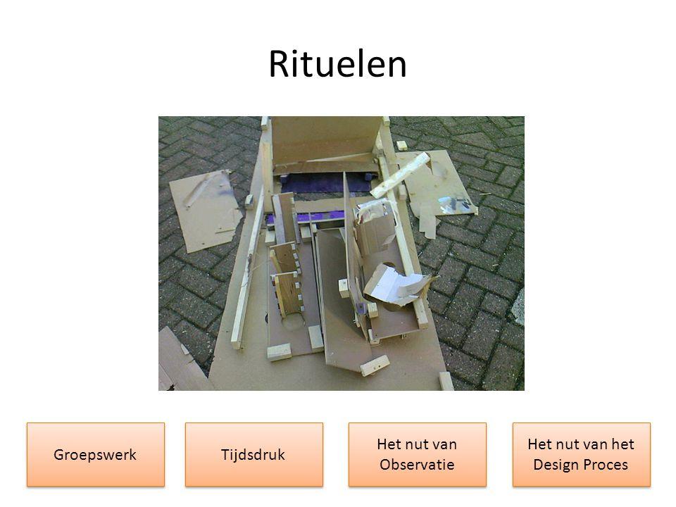Rituelen Groepswerk Het nut van Observatie Het nut van Observatie Het nut van het Design Proces Tijdsdruk
