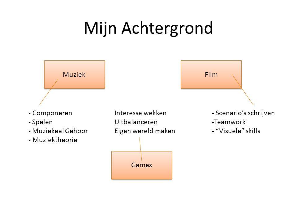 """Mijn Achtergrond Muziek Film Games - Componeren - Spelen - Muziekaal Gehoor - Muziektheorie - Scenario's schrijven -Teamwork - """"Visuele"""" skills Intere"""