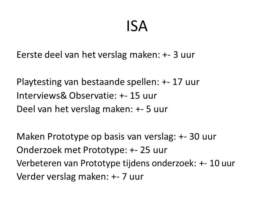 ISA Eerste deel van het verslag maken: +- 3 uur Playtesting van bestaande spellen: +- 17 uur Interviews& Observatie: +- 15 uur Deel van het verslag ma