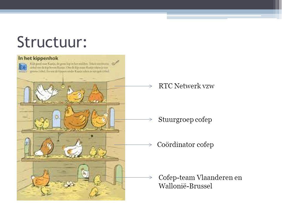 Structuur: Stuurgroep cofep RTC Netwerk vzw Cofep-team Vlaanderen en Wallonië-Brussel Coördinator cofep